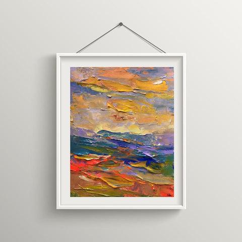 Heavy Texture Acrylic Painting, Hand Painted Small Painting, Abstract Landscape Art Painting-Paintingforhome