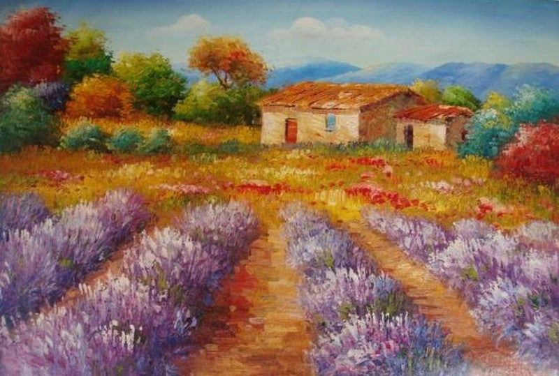 Oil Painting, Canvas Art, Autumn Painting, Lavender Field, Canvas Painting, Landscape Painting, Wall Art, Large Painting, Kitchen Wall Art