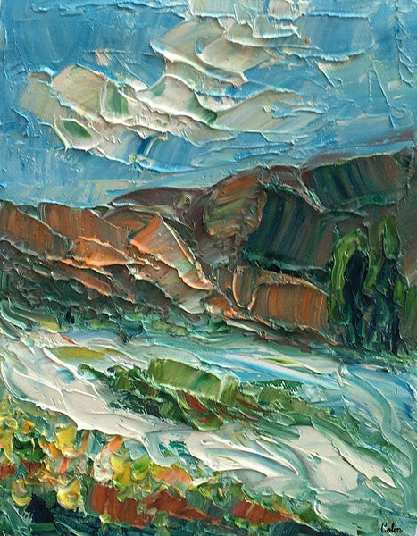 Canvas Painting, Mountain River Landscape Painting, Small Oil Painting, Heavy Texture Oil Painting, 8X10 inch - Paintingforhome