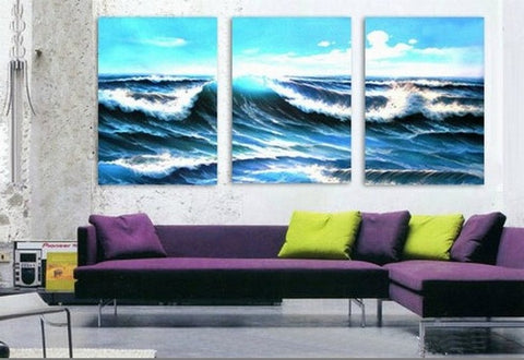 Seascape Painting, Big Wave, Wall Painting, Canvas Painting, Wall Art, Landscape Painting, Large Painting, 3 Piece Wall Art, Contemporary Painting-Paintingforhome