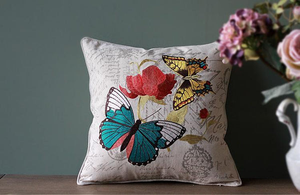 Embroider Butterfly Cotton and linen Pillow Cover, Decorative Throw Pillow, Sofa Pillows, Home Decoration-Paintingforhome