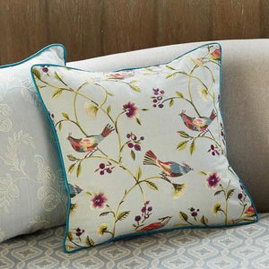 Bird and Flower Tree Pillow Cover, Home Decorative Throw Pillow, Blue Sofa Pillows - Paintingforhome