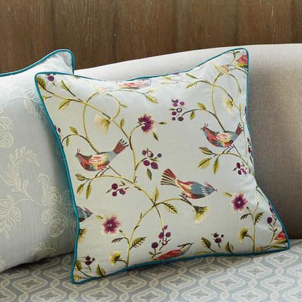 Bird and Flower Tree Pillow Cover, Farm House Rustic Decorative Throw Pillows, Blue Sofa Pillows-Paintingforhome