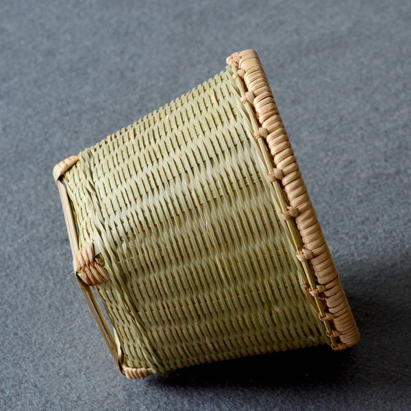 Natural Bamboo Basket, Rustic Basket, Hand Woven Snacks Basket, Round Decorative Basket-Paintingforhome