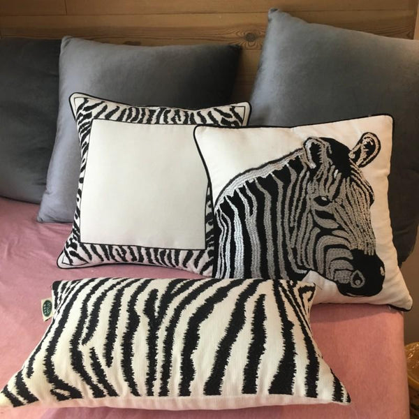 Chenille Zebra Pillow Cover, Decorative Throw Pillow, Sofa Pillows, Home Decoration-Paintingforhome