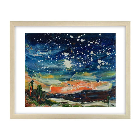 Landscape Painting, Starry Night Sky Painting, Small Oil Painting, Heavy Texture Oil Painting, 8X10 inch