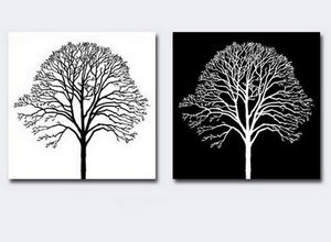 Canvas Painting, Black and White Art, Abstract Painting, Wall Hanging, Tree of Life Art Painting-Paintingforhome