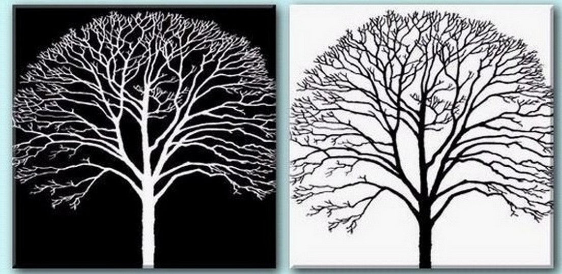 Tree Painting, Black and White Art, Abstract Art, Abstract Painting, Wall Art, Wall Hanging, Dining Room Wall Art, Modern Art, Hand Painted Art-Paintingforhome
