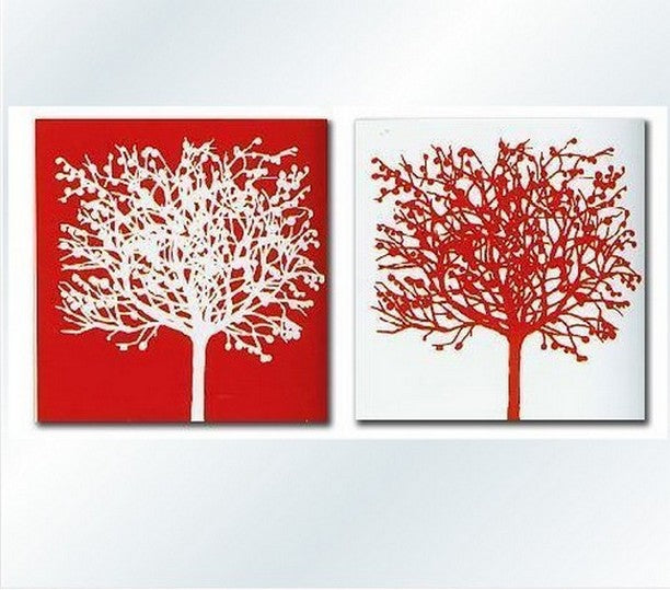 Red and White Art, Abstract Painting, Wall Hanging, Dining Room Wall Art, Modern Art, Hand Painted Art, Large Art, Tree Painting-Paintingforhome