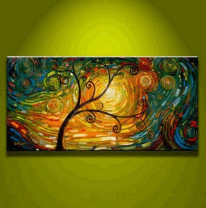 Contemporary Art, Flower Painting, Tree of Life Painting, Abstract Art Painting, Living Room Wall Art-Paintingforhome