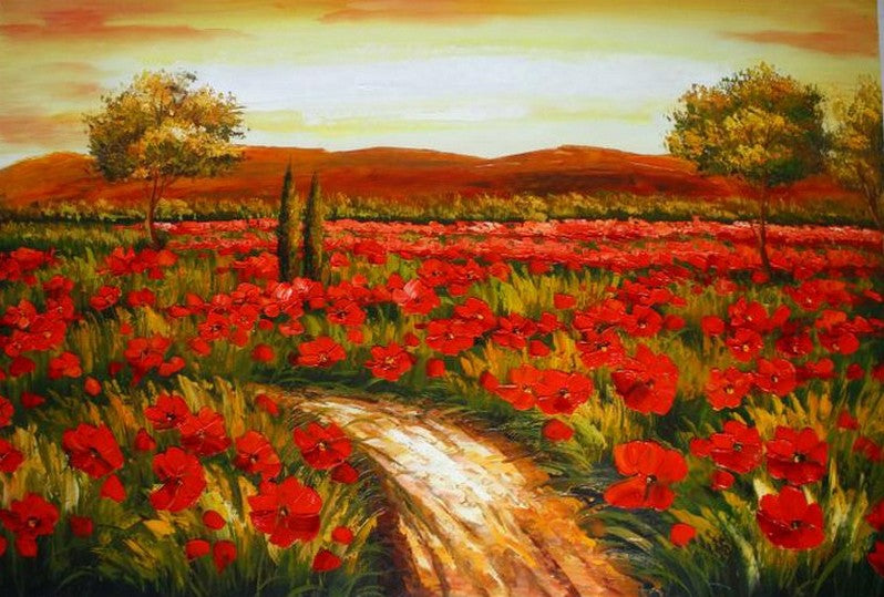 Red Poppy Field, Canvas Art, Large Art, Flower Field, Wall Art, Landscape Painting, Living Room Wall Art, Large Art, Oil Painting, Canvas Wall Art