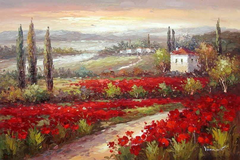 Flower Field, Canvas Oil Painting, Landscape Painting, Living Room Wall Art, Cypress Tree, Red Poppy Field