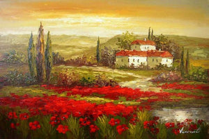 Autumn Art, Flower Field, Impasto Art, Heavy Texture Painting, Landscape Painting, Living Room Wall Art, Cypress Tree, Oil Painting, Red Poppy Field
