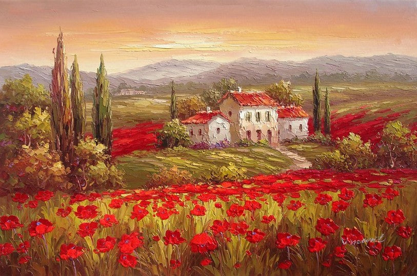 Landscape Painting, Wall Art, Flower Field, Canvas Painting, Large Painting, Living Room Wall Art, Cypress Tree, Oil Painting, Canvas Art, Poppy Field-Paintingforhome