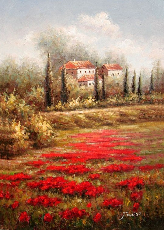 Red Poppy Field, Flower Field, Wall Art, Large Painting, Canvas Painting, Landscape Painting, Kitchen Wall Art, Cypress Tree, Oil Painting, Canvas Wall Art-Paintingforhome