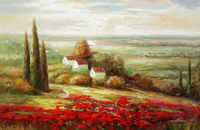 Landscape Painting, Impasto Wall Art, Red Poppy Field, Flower Field, Wall Art, Art Painting, Canvas Painting, Heavy Texture Art, Canvas Oil Painting, Canvas Art-Paintingforhome