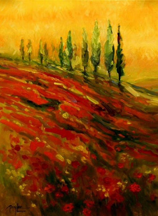 Red Poppy Field, Flower Field, Wall Art, Large Art, Canvas Art, Landscape Painting, Living Room Wall Art, Cypress Tree, Oil Painting, Large Wall Art-Paintingforhome