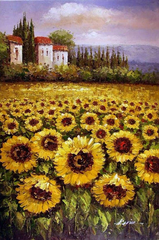 Autumn Art, Flower Field, Heavy Texture Painting, Landscape Painting, Living Room Wall Art, Cypress Tree, Oil Painting, Sunflower Field-Paintingforhome