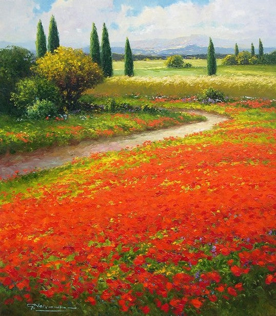 Flower Field, Wall Art, Impasto Art, Heavy Texture Painting, Landscape Painting, Living Room Wall Art, Cypress Tree, Oil Painting, Canvas Art, Red Poppy Field