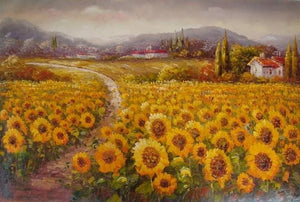 Landscape Painting, Sunflower Field, Canvas Oil Painting, Wall Art, Large Painting, Bedroom Wall Art, Modern Art, Oil Painting, Canvas Art, Ready to Hang-Paintingforhome