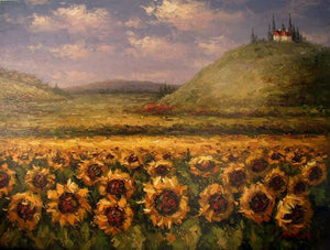 Canvas Art, Sunflower Painting, Large Art, Flower Field, Wall Art, Landscape Painting, Kithchen Wall Art, Large Canvas Art, Oil Painting, Canvas Wall Art-Paintingforhome