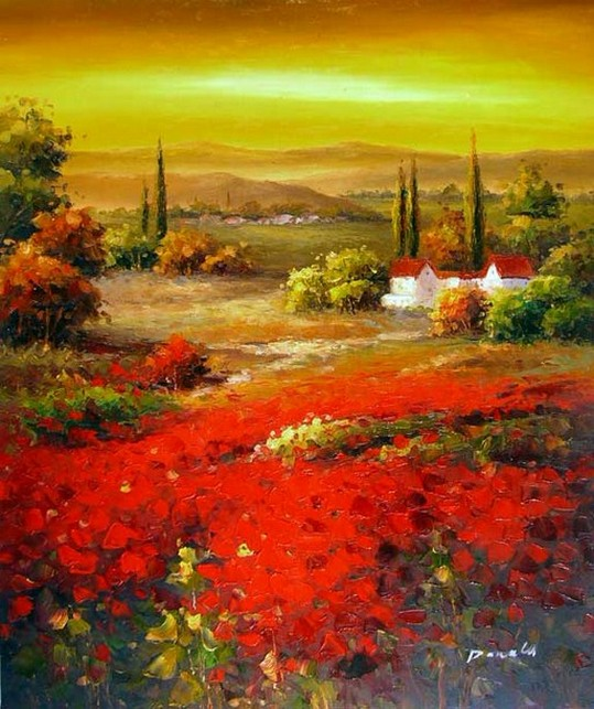 Autumn Art, Flower Field, Wall Art, Impasto Art, Heavy Texture Painting, Landscape Painting, Living Room Wall Art, Cypress Tree, Red Poppy Field