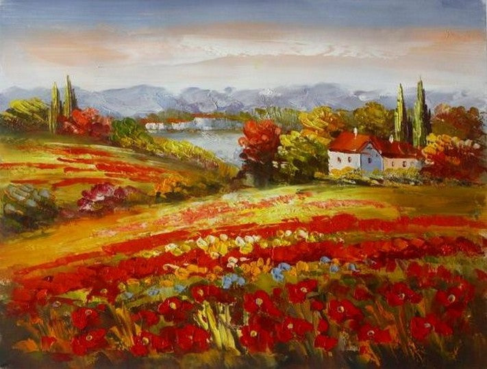 Red Poppy Field, Flower Field, Wall Art, Large Painting, Canvas Painting, Landscape Painting, Living Room Wall Art, Cypress Tree, Oil Painting, Canvas Art-Paintingforhome