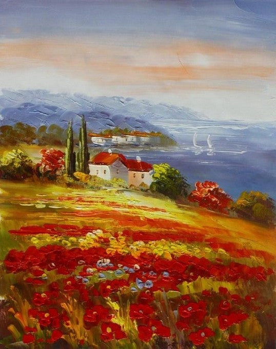 Wall Art, Red Poppy Field, Flower Field, Large Painting, Canvas Painting, Landscape Painting, Living Room Wall Art, Cypress Tree, Oil Painting, Canvas Art