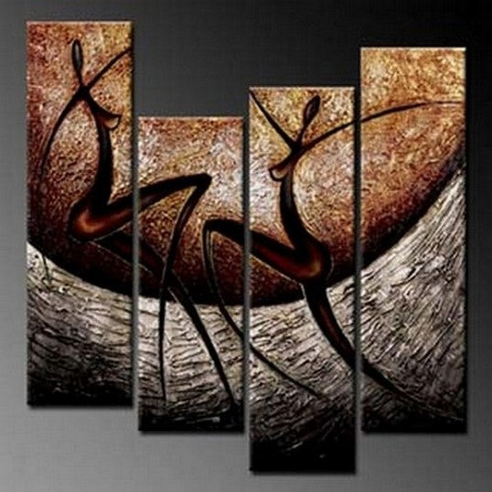 4 Piece Wall Art Sets, Abstract Figure Painting, Acrylic Artwork, Modern Canvas Painting-Paintingforhome