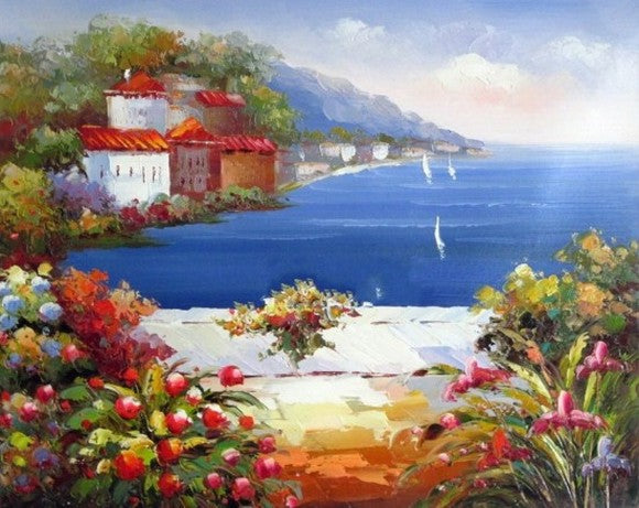Mediterranean Sea Art, Canvas Painting, Landscape Painting, Wall Art, Abstract Painting, Bedroom Wall Art, Oil Painting, Canvas Wall Art, Seascape Art, Spain Summer Resort-Paintingforhome