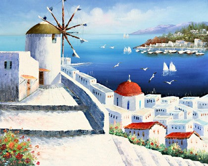 Landscape Painting, Wall Art, Large Painting, Mediterranean Sea Painting, Canvas Painting, Bedroom Art, Oil Painting, Canvas Wall Art-Paintingforhome