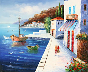 Landscape Painting, Wall Art, Canvas Painting, Large Painting, Bedroom Wall Art, Oil Painting, Art Painting, Canvas Art, Seascape Art, Spain Seashore Painting-Paintingforhome