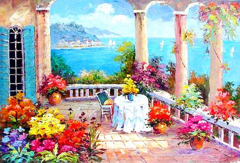 Canvas Painting, Spain Seashore, Mediterranean Sea Painting, Wall Art, Large Painting, Bedroom Wall Art, Oil Painting, Canvas Art, Seascape, Garden Painting-Paintingforhome