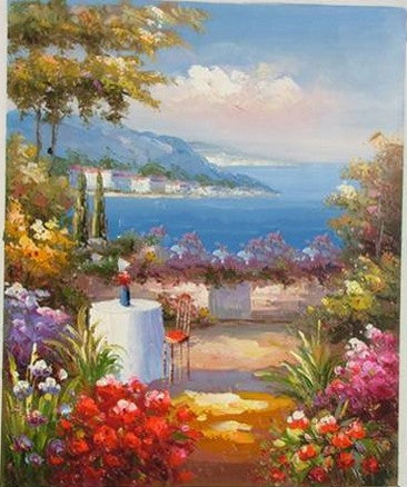 Canvas Painting, Landscape Oil Painting, Summer Resort Painting, Wall Art, Large Painting, Living Room Wall Art, Oil Painting, Canvas Wall Art, Gaden Flower-Paintingforhome