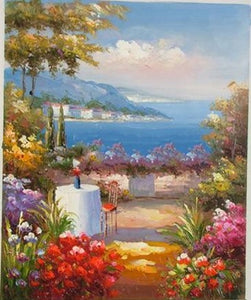 Canvas Painting, Landscape Oil Painting, Summer Resort Painting, Wall Art, Large Painting, Living Room Wall Art, Oil Painting, Canvas Wall Art, Gaden Flower