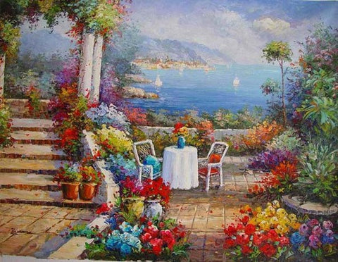 Landscape Painting, Wall Art, Canvas Painting, Heavy Texture Painting, Living Room Wall Art, Oil Painting, Wall Art Decor, Canvas Art, Italian Summer Resort-Paintingforhome