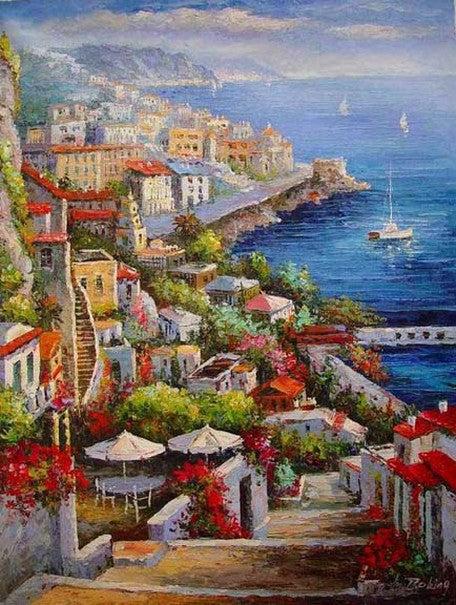 Landscape Painting, Wall Art, Large Painting, Mediterranean Sea Painting, Canvas Painting, Kitchen Wall Art, Oil Painting, Art on Canvas, Seashore Town, France Summer Resort