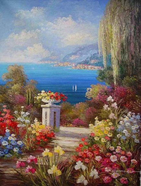 Landscape Painting, Summer Resort Painting, Wall Art, Mediterranean Sea Painting, Canvas Painting, Kitchen Wall Art, Oil Painting, Seascape, France Summer Resort-Paintingforhome