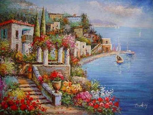 Mediterranean Sea Painting, Landscape Painting, Canvas Painting, Wall Art, Large Painting, Bedroom Wall Art, Oil Painting, Canvas Art, Seascape, Italy Summer Resort-Paintingforhome