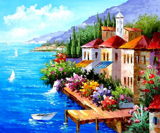 Landscape Painting, Mediterranean Sea Painting, Canvas Painting, Wall Art, Large Painting, Bedroom Wall Art, Oil Painting, Canvas Art, Boat Painting, Italy Summer Resort-Paintingforhome