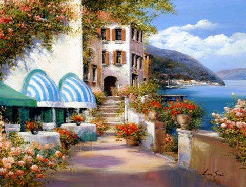 Mediterranean Sea Painting, Canvas Painting, Landscape Painting, Wall Art, Large Painting, Bedroom Wall Art, Oil Painting, Canvas Art, Seascape, Seashore Hotel, Garden-Paintingforhome