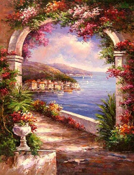 Canvas Painting, Landscape Painting, Wall Art, Canvas Painting, Large Painting, Bedroom Wall Art, Oil Painting, Canvas Art, Garden Flower, Italy Summer Resort-Paintingforhome