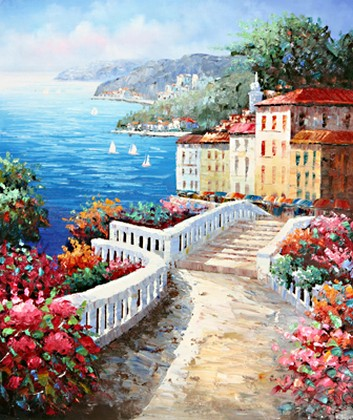 Landscape Painting, Wall Art, Canvas Painting, Large Painting, Bedroom Wall Art, Oil Painting, Art Painting, Canvas Art, Seascape Art, Garden Path-Paintingforhome