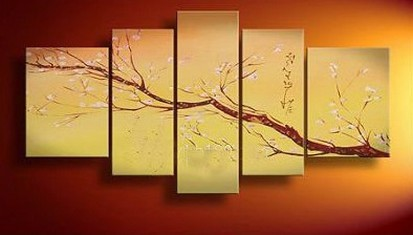 Flower Tree Painting, Plum Tree, Abstract Art, Abstract Painting, Canvas Painting, Wall Art, Large Abstract Art, Acrylic Art, Bedroom Wall Art