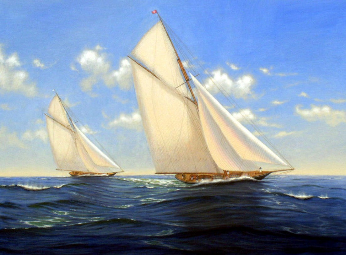 Canvas Painting, Oil Painting, Canvas Art, Seascape Painting, Wall Art, Large Painting, Dining Room Wall Art, Canvas Oil Painting, Canvas Art, Sailing Boat at Sea-Paintingforhome