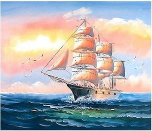 Canvas Wall Art, Canvas Art, Oil Painting, Canvas Painting, Seascape Painting, Wall Art, Large Painting, Canvas Oil Painting, Canvas Art, Sailing Boat at Sea-Paintingforhome