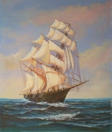 Large Oil Painting, Canvas Painting, Seascape Painting, Wall Art, Large Painting, Canvas Oil Painting, Canvas Art, Sailing Boat at Sea