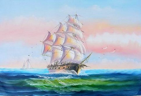 Bedroom Wall Art, Canvas Painting, Canvas Art, Oil Painting, Seascape Painting, Wall Art, Large Painting, Canvas Oil Painting, Canvas Art, Sailing Boat at Sea - Paintingforhome