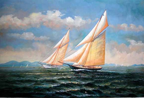 Living Room Wall Art, Canvas Art, Oil Painting, Canvas Painting, Seascape Painting, Wall Art, Large Painting, Canvas Oil Painting, Canvas Art, Sailing Boat at Sea-Paintingforhome