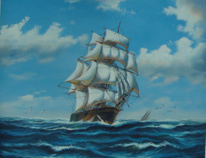 Blue Sky, Seascape Painting, Oil Painting, Canvas Painting, Dining Room Wall Art, Canvas Oil Painting, Canvas Art, Sailing Boat at Sea